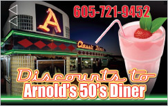 Arnold's 50's Diner Key Card Rapid City, SD