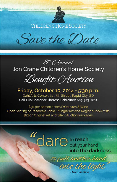 Black Hills Children's Home Society Save the Date Postcard Rapid City, SD