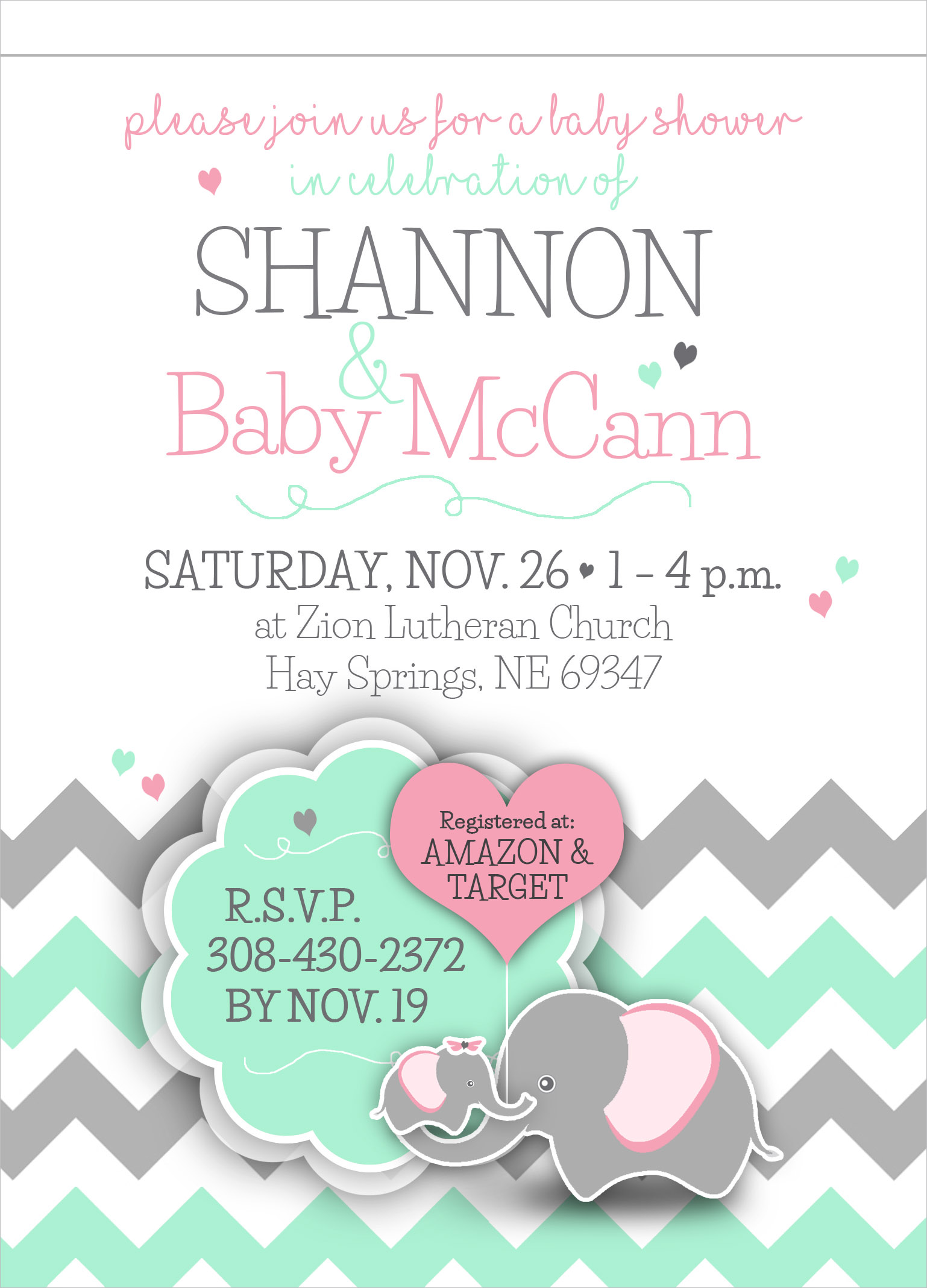 McCann Baby Shower Invitation Lincoln, NE