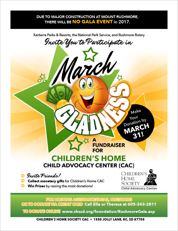 Black Hills Children's Home Society Fundraising Flyer Rapid City, SD
