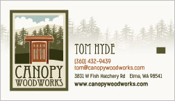 Canopy Woodworks Business Card Elma, WA