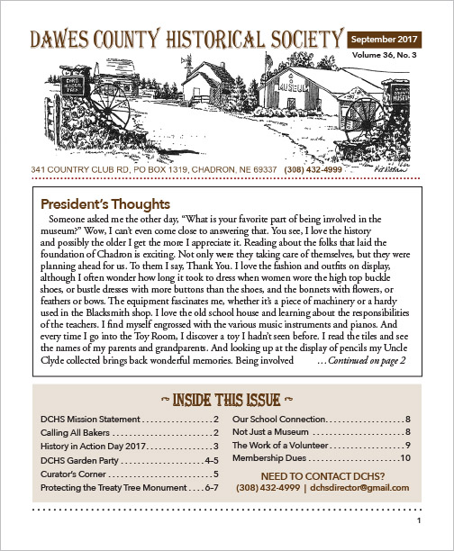 Dawes County Historical Museum Newsletter Chadron, NE