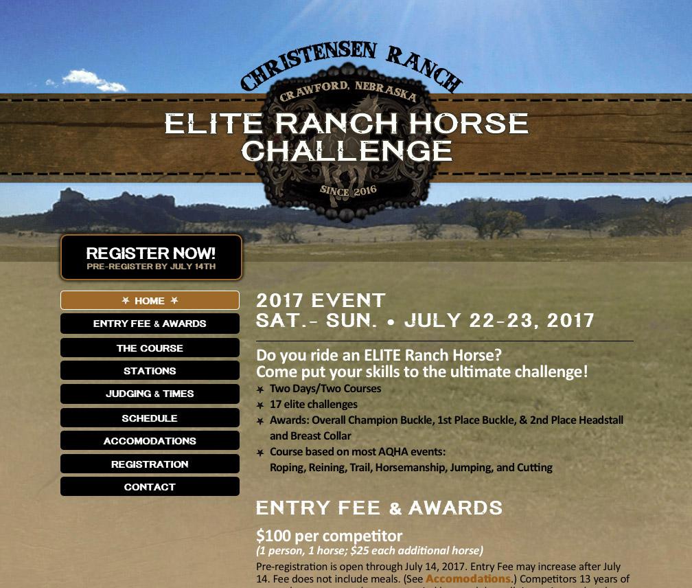 Christensen Ranch Elite Ranch Horse Challenge Website Crawford, NE