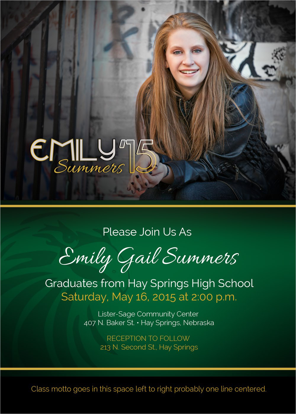Summers Graduation Announcement Hay Springs, NE
