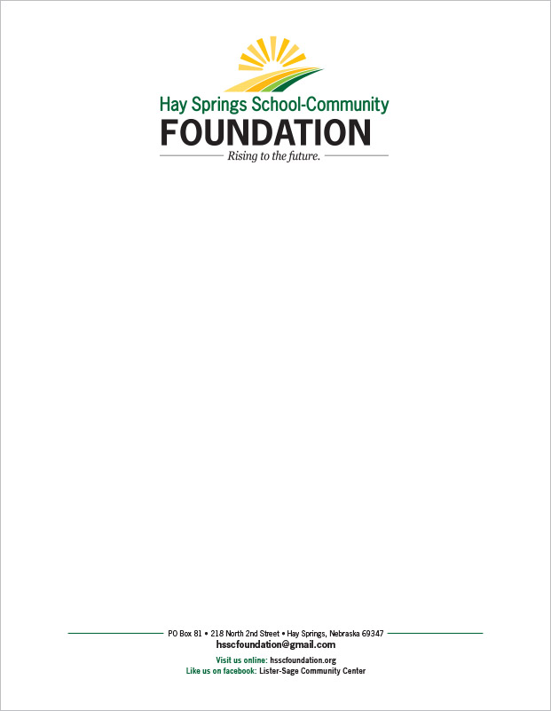 Hay Springs School-Community Foundation Lister-Sage Community Center Letterhead Hay Springs, NE