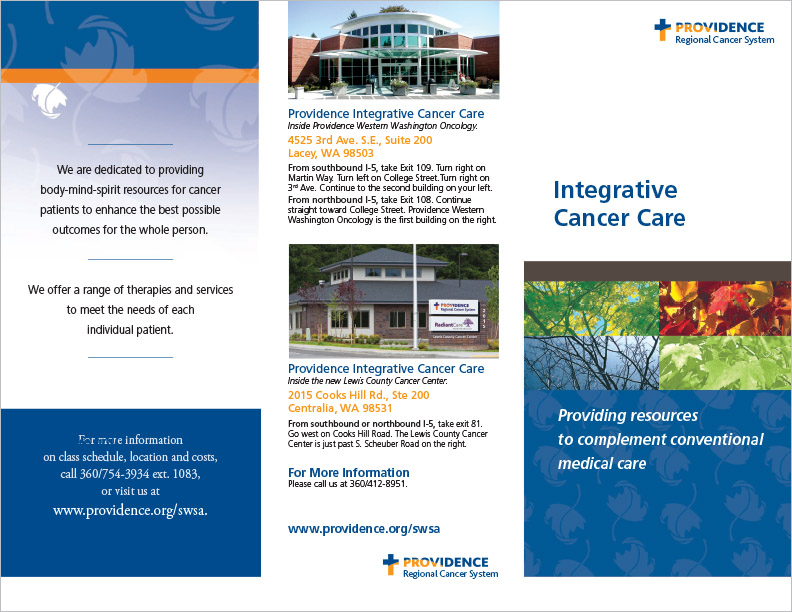 Providence Regional Cancer System Integrative Cancer Care Brochure Washington