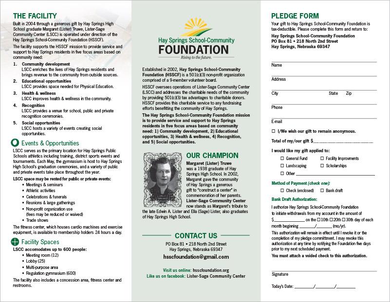 Hay Springs School-Community Foundation Lister-Sage Community Center Website Hay Springs, NE