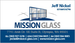 Mission Glass Business Card Olympia, WA