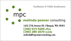 Melinda Posner Consulting Business Card Olympia, WA