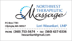 Northwest Therapeutic Massage Business Card Olympia, WA