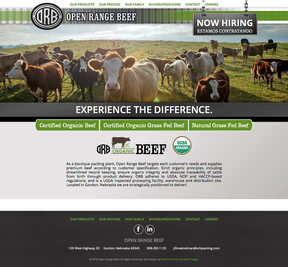 Open Range Beef Website Gordon, NE