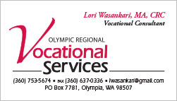 Olympic Regional Vocational Services Business Card Olympia, WA