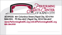 Performing Arts Center of Rapid City Business Card Rapid City, SD