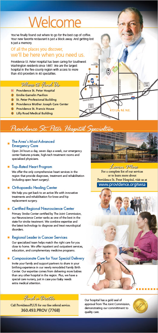 Providence St Peter Hospital New Patient Mailer Olympia, WA