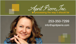 April Pierre Business Card Lake Tapps, WA