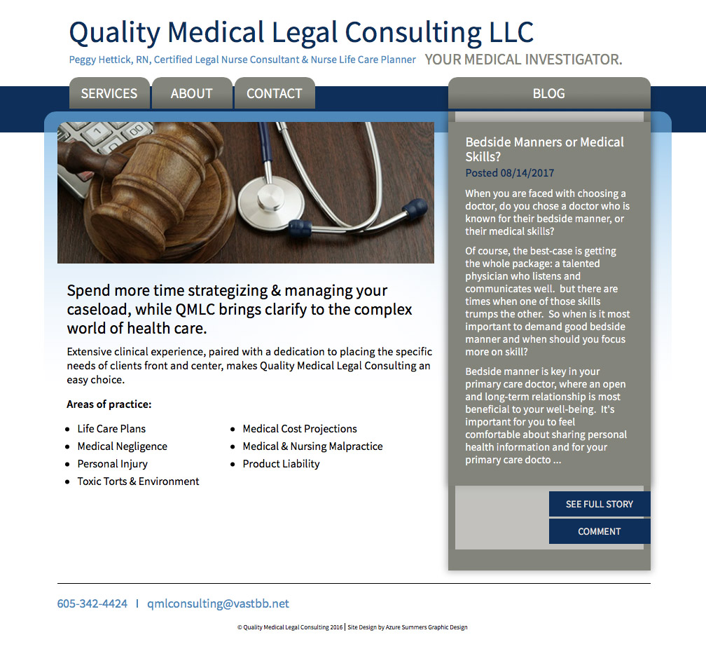 Quality Medical Legal Consulting Website Rapid City, SD