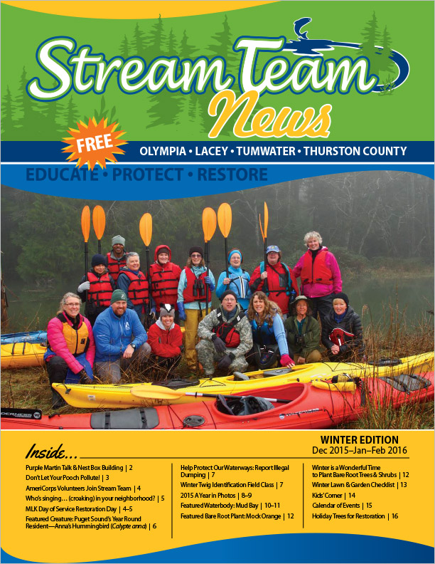 Thurston County Stream Team Newsletter Winter 2015 Olympia, WA
