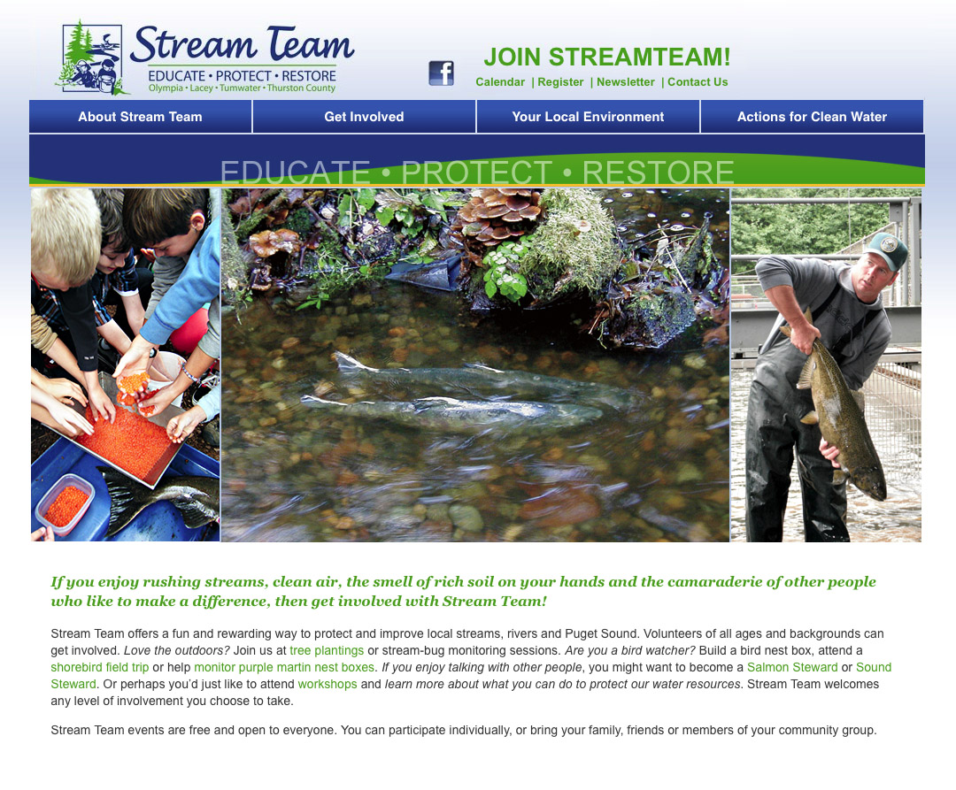 Thurston County Stream Team Website Olympia, WA