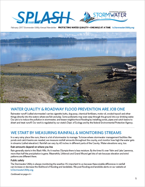 Thurston County Stormwater Utility Newsletter Olympia, WA