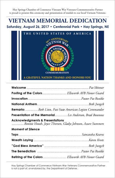 Hay Springs Chamber of Commerce Vietnam Veterans Commemorative Partner Dedication Program Hay Springs, NE