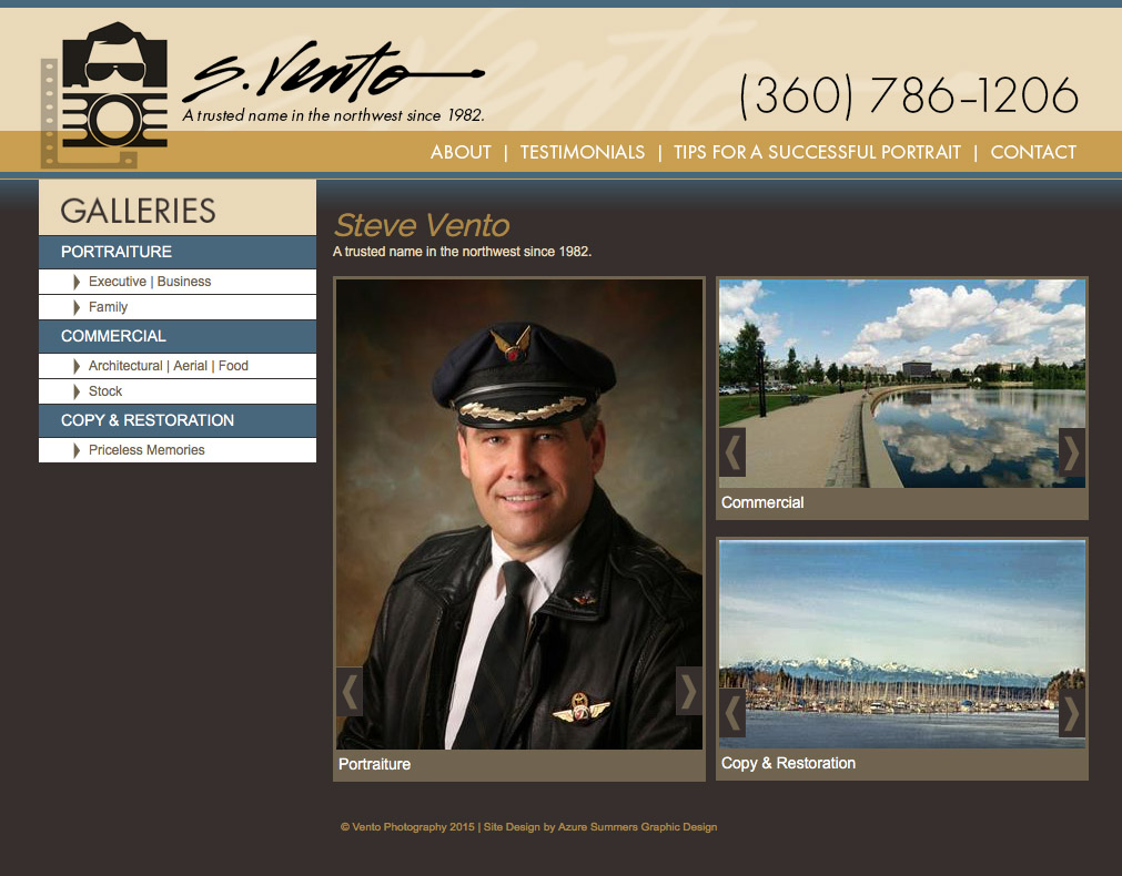 Vento Photography Website Olympia, WA