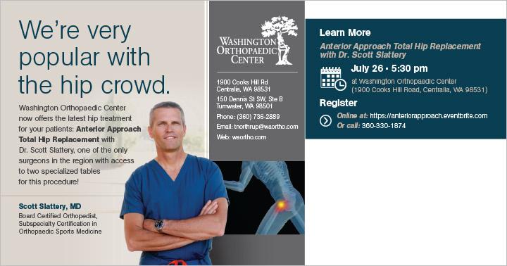 Washington Orthopedic Center Direct Mail Postcard Centralia, WA