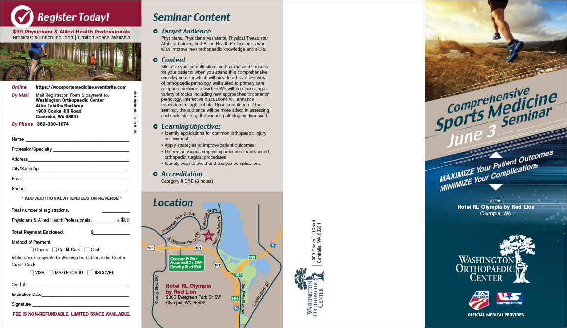 Washington Orthopedic Center Seminar Brochure Centralia, WA