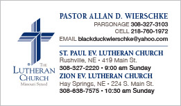 Zion Lutheran Church Business Card Rushville, NE