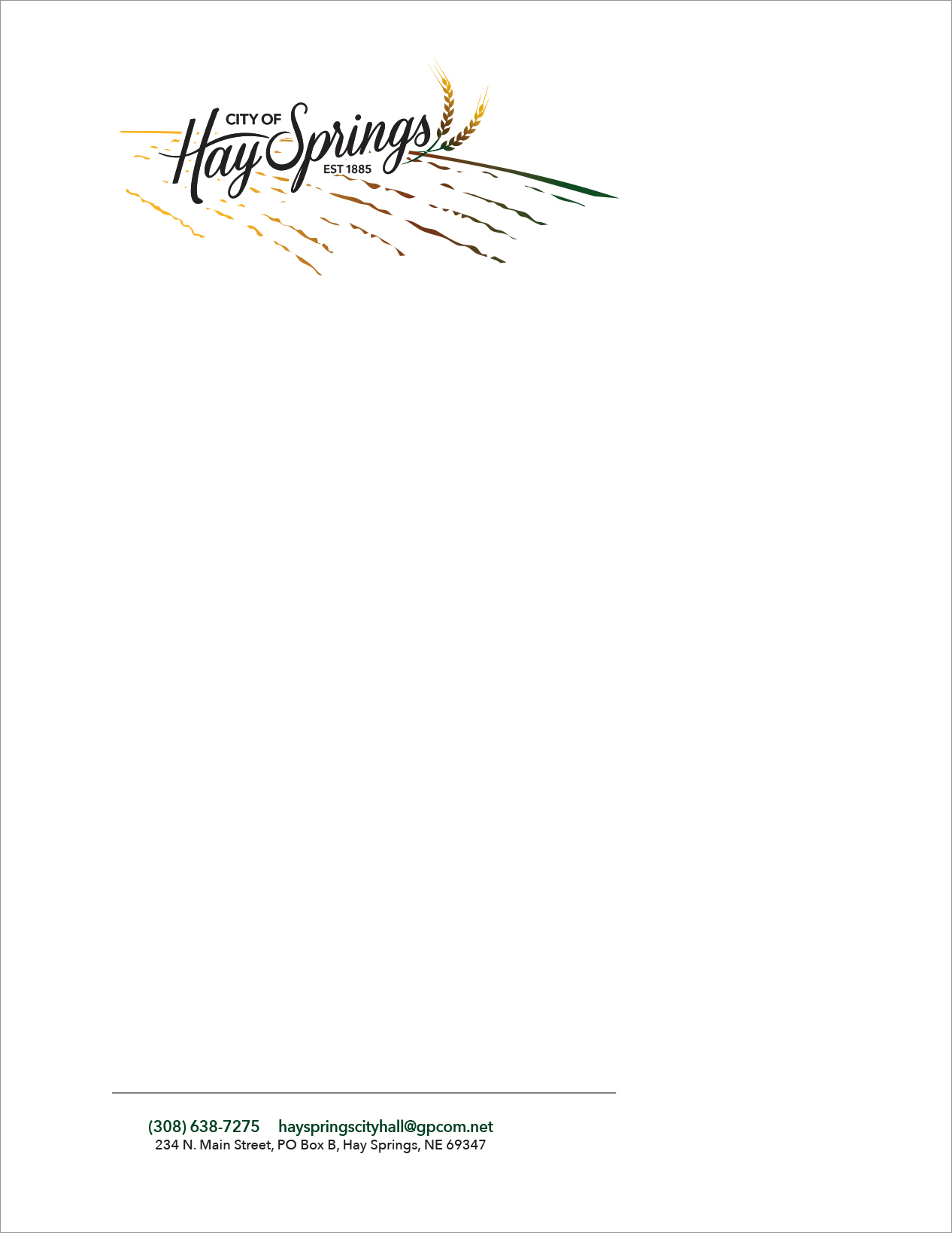 City of Hay Springs Letterhead